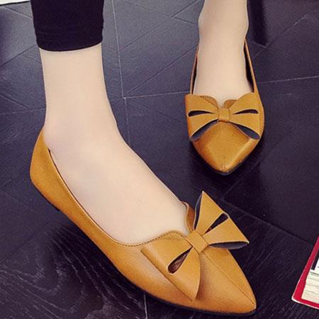 尖頭鞋 歐美復古蝴蝶結尖頭平底鞋【S1560】☆雙兒網☆ 3