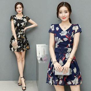 韓版 夏季新款時尚氣質性感印花雪紡洋裝 M~2XL  現貨+預購  韓風衣舍