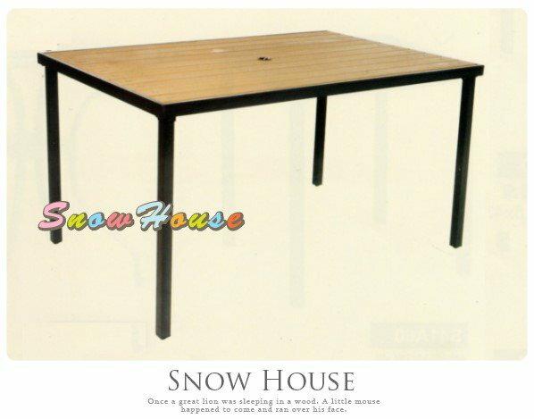 ╭☆雪之屋小舖☆╯S41199 P35鐵製塑木長方桌/造型餐桌/休閒桌/咖啡桌/置物桌/戶外桌/方桌/塑木桌