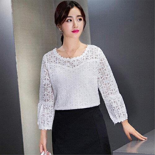 蕾絲衫鏤空罩衫蕾絲長袖T恤 (白色,S~2XL) 【OREAD】 - 限時優惠好康折扣
