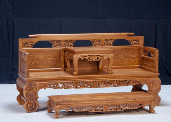 【石川家居】KL-136柚木雕刻羅漢床三件式(不拆賣)台中以北搭配車趟免運費