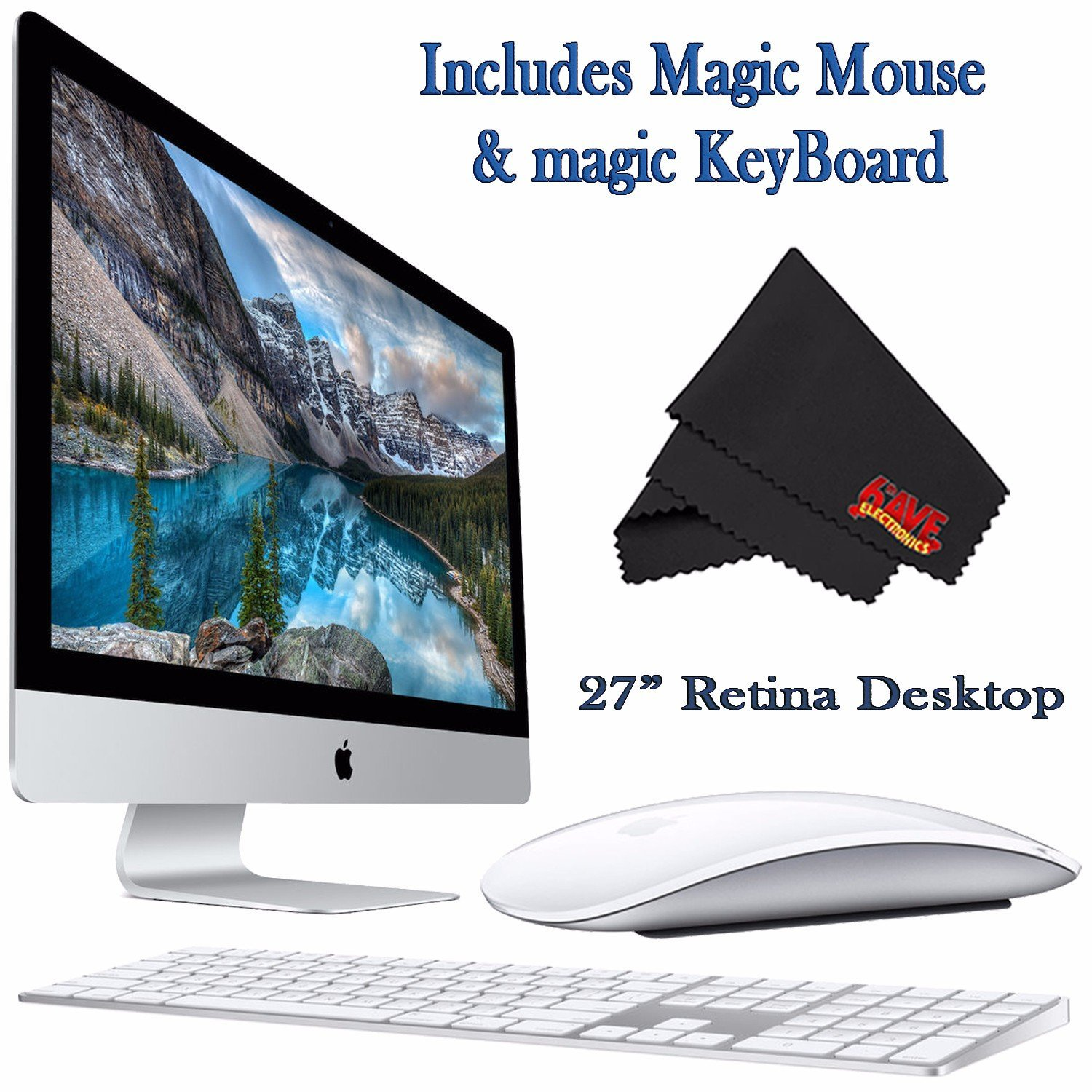 Apple iMac MK482LL/A 27-Inch Retina 5K Display Desktop 3.3GHz 8GB 2TB Fusion Drive + Mac Essentials Lifetime Online Support + Magic Keyboard and Magic Mouse 0