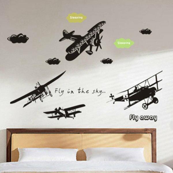 BO雜貨【YV0605】DIY可重複貼 時尚壁貼 牆貼壁紙 壁貼紙 創意璧貼 飛機 DLX9008