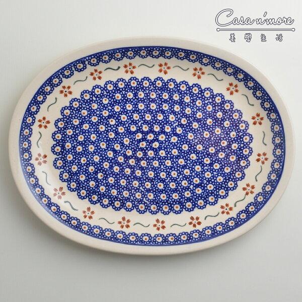 波蘭陶紅點藍花系列橢圓形餐盤陶瓷盤菜盤水果盤沙拉盤29cm波蘭手工製