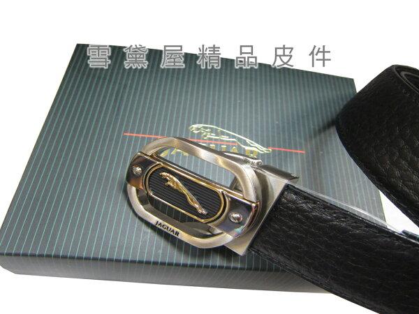 ~雪黛屋~JAGUAR紳士皮帶西裝褲洞釦式100%進口牛皮革材質最大41吋腰圍適用附品牌高級禮盒JGS62853