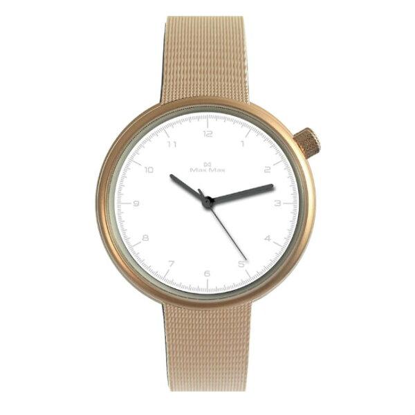 MaxMaxMAS7026-3簡約文青米蘭帶腕錶-白39mm