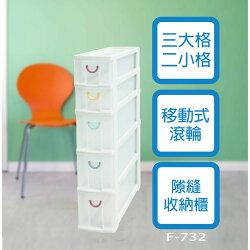 【吉賀】免運  家寶 五層隙縫櫃(附輪) [2小3大] F-732 法成 HAPPY 隙縫櫃 收納箱 F732