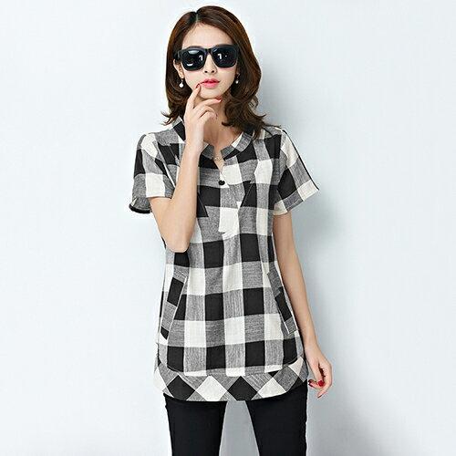 韓版亞麻短袖格子襯衫(2色M~5XL)*ORead* 1
