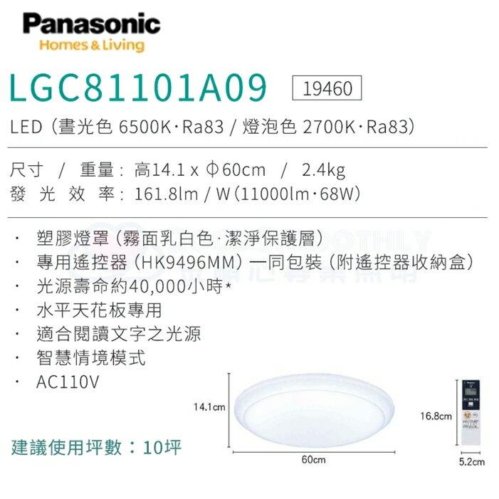 ☼金順心☼專業照明~原廠保固 Panasonic 國際牌 LED LGC81101A09 68W 遙控吸頂燈