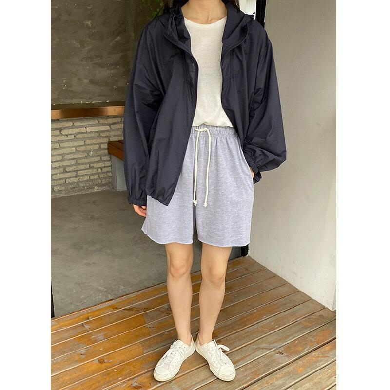 夏季新款短褲女鬆緊高腰抽繩休閒褲純色寬鬆簡潔闊腿褲