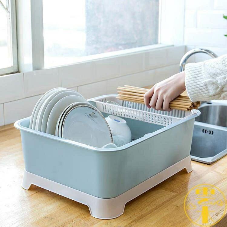 餐具收納盒帶蓋瀝水碗碟架特大號裝餐具置物箱碗柜塑料【省錢大作戰 全館85折】