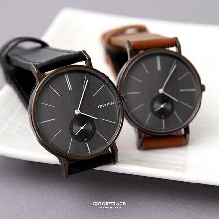 手錶 沉穩黑面簡約刻度質感車線皮革手錶 獨立秒盤設計 無印個性風格 柒彩年代【NE1904】單支價格 - 限時優惠好康折扣