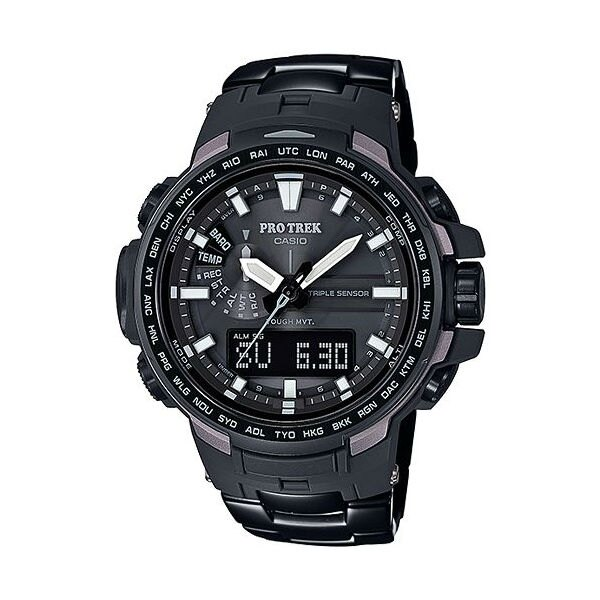 CASIO PROTREK PRW~6100YT~1DR勁黑 登山雙顯電波腕錶  52mm