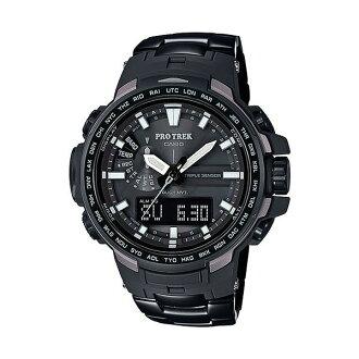 CASIO PROTREK PRW-6100YT-1DR勁黑專業登山雙顯電波腕錶/52mm