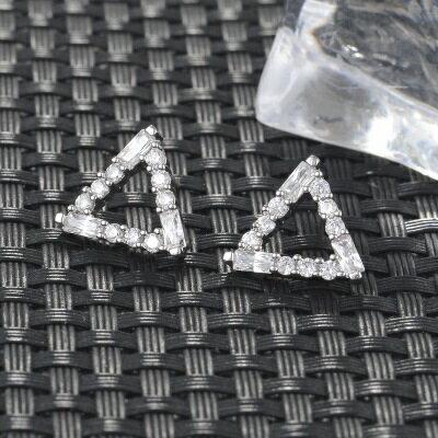 925純銀耳環鑲鑽耳飾~ 鏤空三角形七夕情人節 女飾品2色73hz90~ ~~米蘭 ~