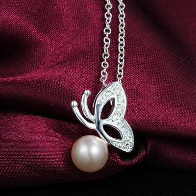 ~925純銀項鍊 珍珠吊墜~美艷蝴蝶 迷人情人母親節 女 73ax10~ ~~米蘭 ~