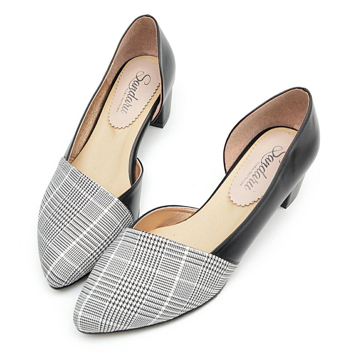 尖頭鞋 千鳥格紋側簍空低跟鞋-黑