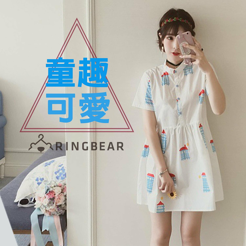 襯衫洋裝--純真少女風童趣房屋圖案立領開襟棉質襯衫連身裙(白XL-3L)-D423眼圈熊中大尺碼 0