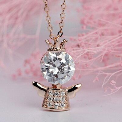 玫瑰金項鍊 鑲鑽純銀吊墜~可愛小人 七夕情人節 女飾品2色73dw151~ ~~米蘭 ~