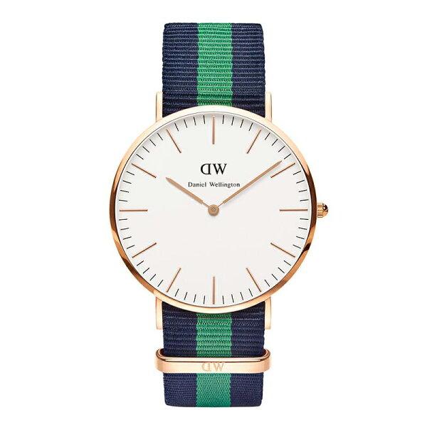 美國百分百:美國百分百【DanielWellington】DWWarwick手錶男女腕錶尼龍錶帶深藍綠F944