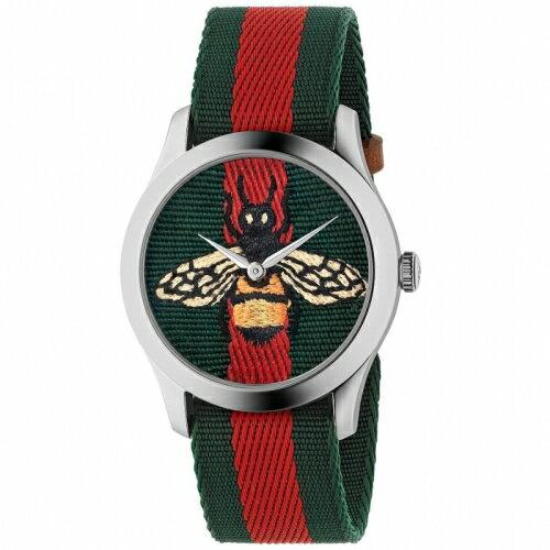 GUCCIG-Timeless精緻刺繡蜜蜂尼龍腕錶綠紅1264060