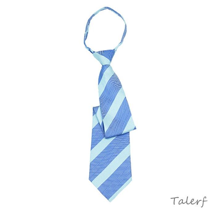 泰樂福寬寬版粗斜條紋拉鍊領帶(藍)