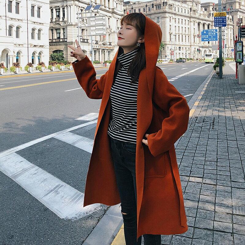 秋冬韓版收腰連帽長袖毛呢外套