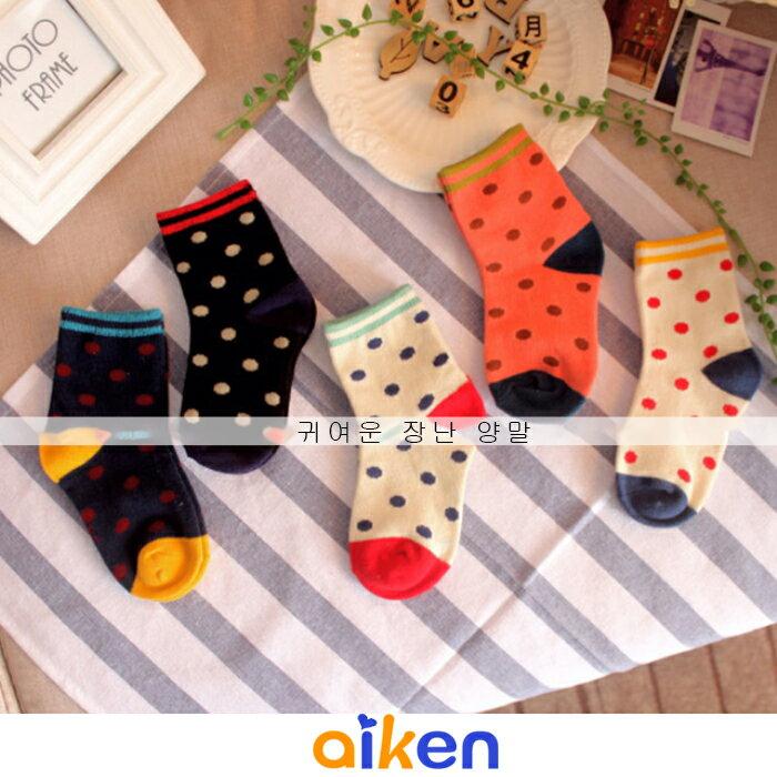 ~艾肯居家 館~寒流 嬰兒 兒童 襪子 1~3歲 ^( 5雙一組 ^) 糖果色 女襪 圓點