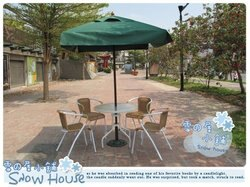 ╭☆雪之屋小舖☆╯@輕巧方便組@戶外休閒桌椅一桌四椅+7尺四方休閒傘(綠)+傘座~原價$9600