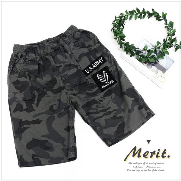 大童 刺繡標誌迷彩短褲 灰色系 美式 街頭 男童 口袋 鬆緊腰 平織 童軍 迷彩 帥氣