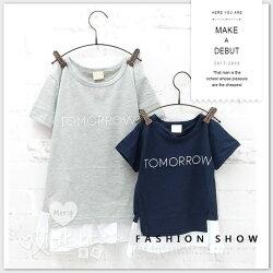 純棉 親子裝 字母前短後長拼接上衣 長版 短袖 童裝 男童 女童 圓領 T恤 短T 孕婦裝