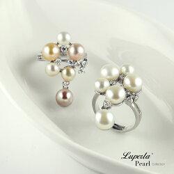 大東山珠寶 燦爛時光 晶鑽珍珠戒指 甜美雙色系