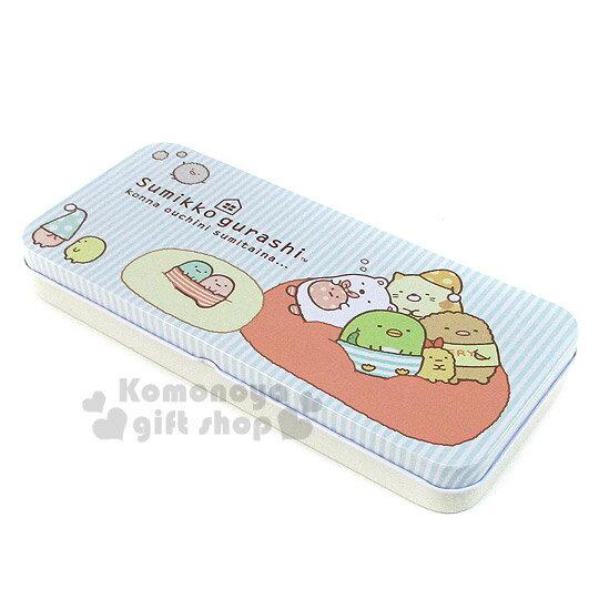 〔小禮堂〕角落生物 鐵製筆盒《單層.藍.條紋.睡覺》增添學童學習樂趣
