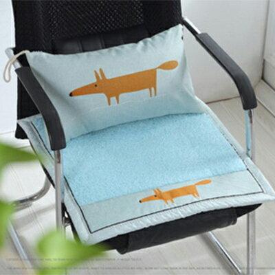 WallFree窩自在★秋冬加厚毛絨布藝坐墊椅墊-藍色款-藍狐狸