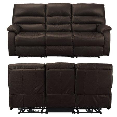 ◎全皮3人用頂級電動可躺式沙發 BELIEVER2 DBR NITORI宜得利家居 1