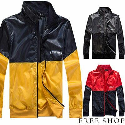 ~全店399 ~Free Shop~AM88839~美式休閒潮流撞色亮面拉鍊螺紋立領外套防