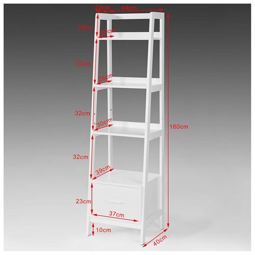 Haotian FRG116 K W, White, Storage Display Shelving Ladder Shelf Bookcase  With Drawer And