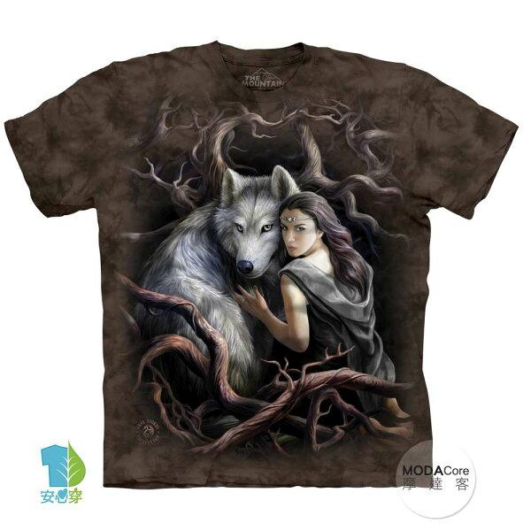 【摩達客】(預購)美國進口TheMountain靈狼女神純棉環保藝術中性短袖T恤