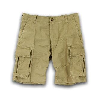 美國百分百【Tommy Hilfiger】短褲 TH 褲子 五分褲 休閒褲 工作褲 口袋 男 卡其色 29腰 F239