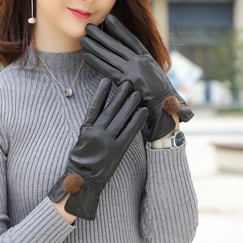 真皮手套保暖手套-綿羊皮加絨毛球防風女手套73wm63【獨家進口】【米蘭精品】 2