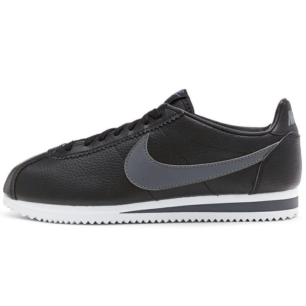 Nike Classic Cortez Leather 男鞋 阿甘 休閒 復古 透氣 黑 灰 【運動世界】749571-011