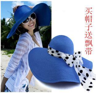 巴拿馬女夏天士帽子大草帽沙灘帽大沿帽大檐帽遮陽帽太陽帽可折疊1入