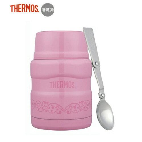 【Thermos 膳魔師】不銹鋼真空食物燜燒罐470ml (附湯匙)-粉桃歐蕾