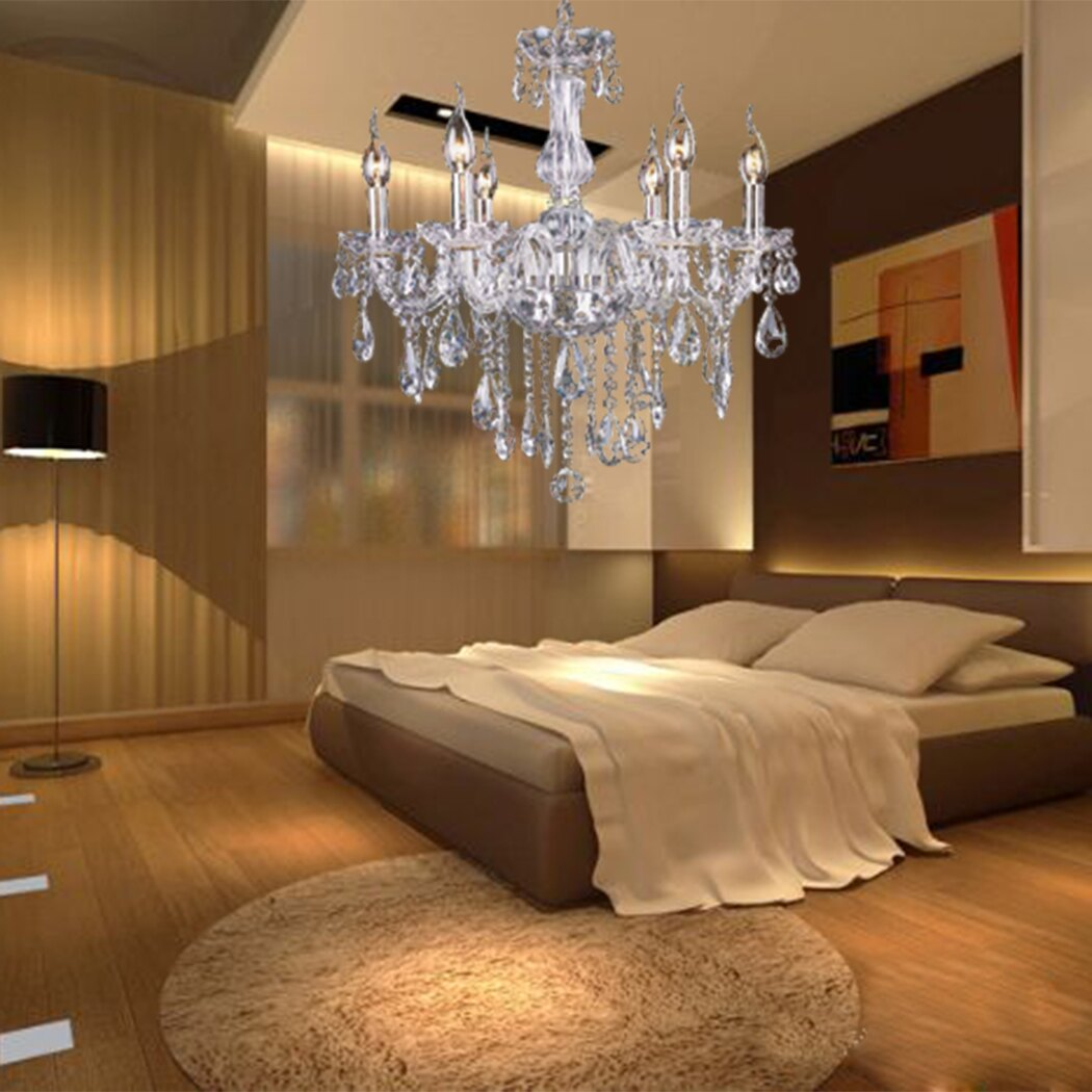 Crystal Lamp Fixture Pendant Light Ceiling Chain Candle Chandelier 3
