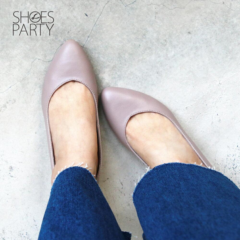 【P2-19823L】大人的素色真皮細跟鞋_Shoes Party 5
