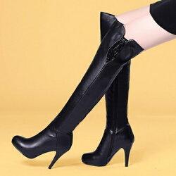 ★過膝靴真皮高跟長靴-精緻奢華水鑽裝飾女鞋73iv6【獨家進口】【米蘭精品】
