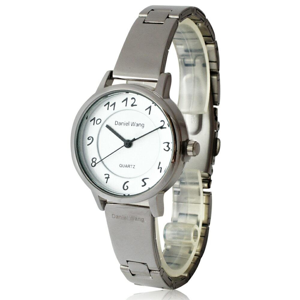 Daniel Wang 3139-S 典雅小巧錶帶銀框手寫數字質感手錶 0