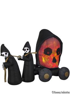 X射線 精緻禮品:X射線【W7766】充氣死神拉骷髏頭配冰火燈,萬聖節萬聖佈置充氣擺飾好收納萬聖充氣死神會場佈置打卡神器舞會道具