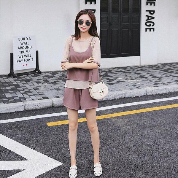 FINDSENSE G5 韓國時尚 夏季套装 雪紡衫+吊帶 背心+ 高腰 短褲 休閒 三件套