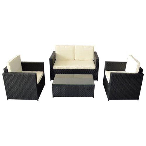 wicker patio furniture. Mcombo 4 PCS Wicker Patio Furniture Set Garden Lawn Sofa Cushioned Seat Black 0